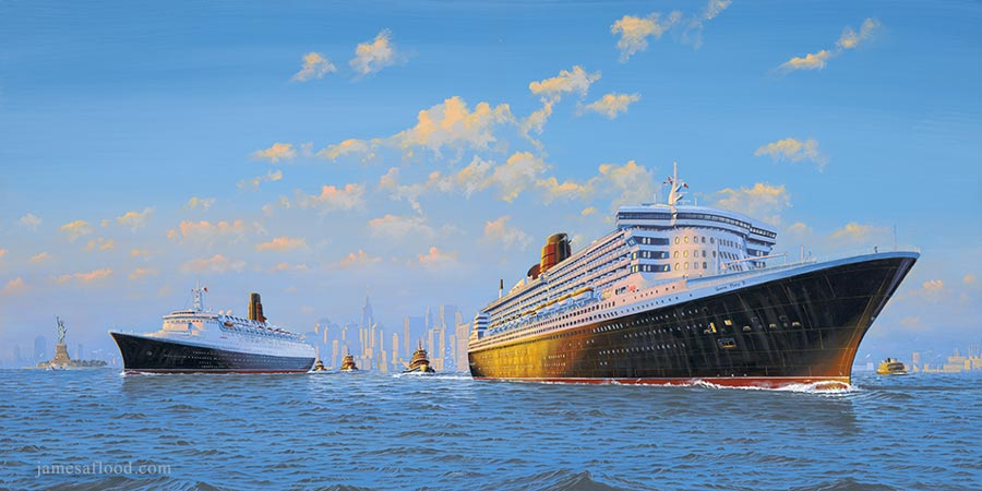 Cunard's Monarchs of the Sea: Queen Elizabeth 2 and Queen Mary 2 in New York Harbor